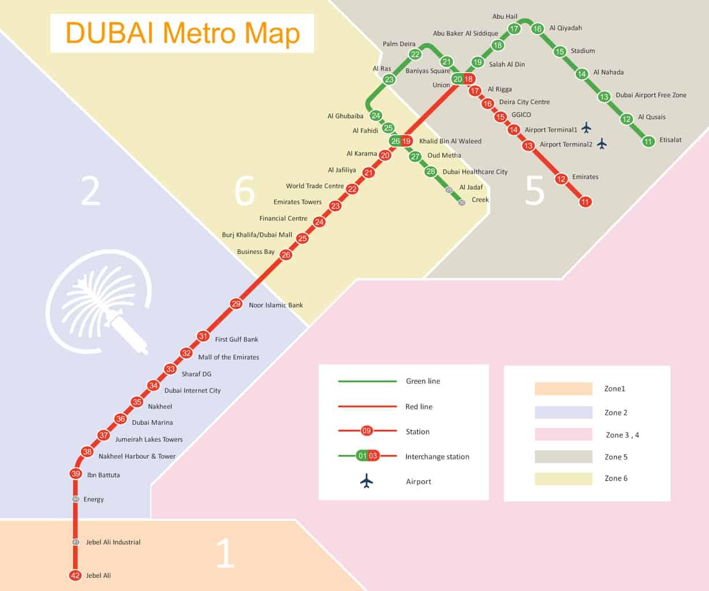 mapa metra Dubai